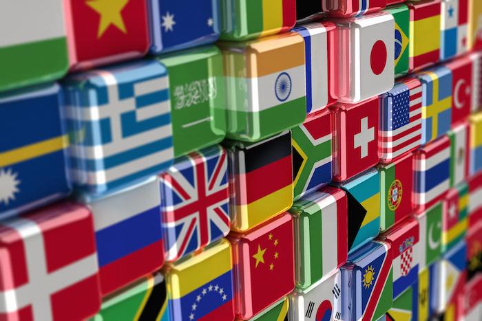 International flag-cubes